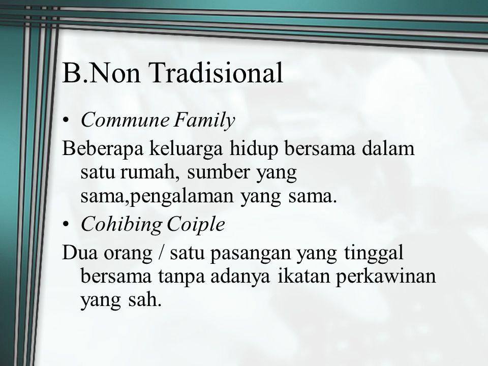B.Non Tradisional Commune Family Beberapa keluarga hidup bersama dalam satu rumah, sumber yang sama,pengalaman yang sama. Cohibing Coiple Dua orang /