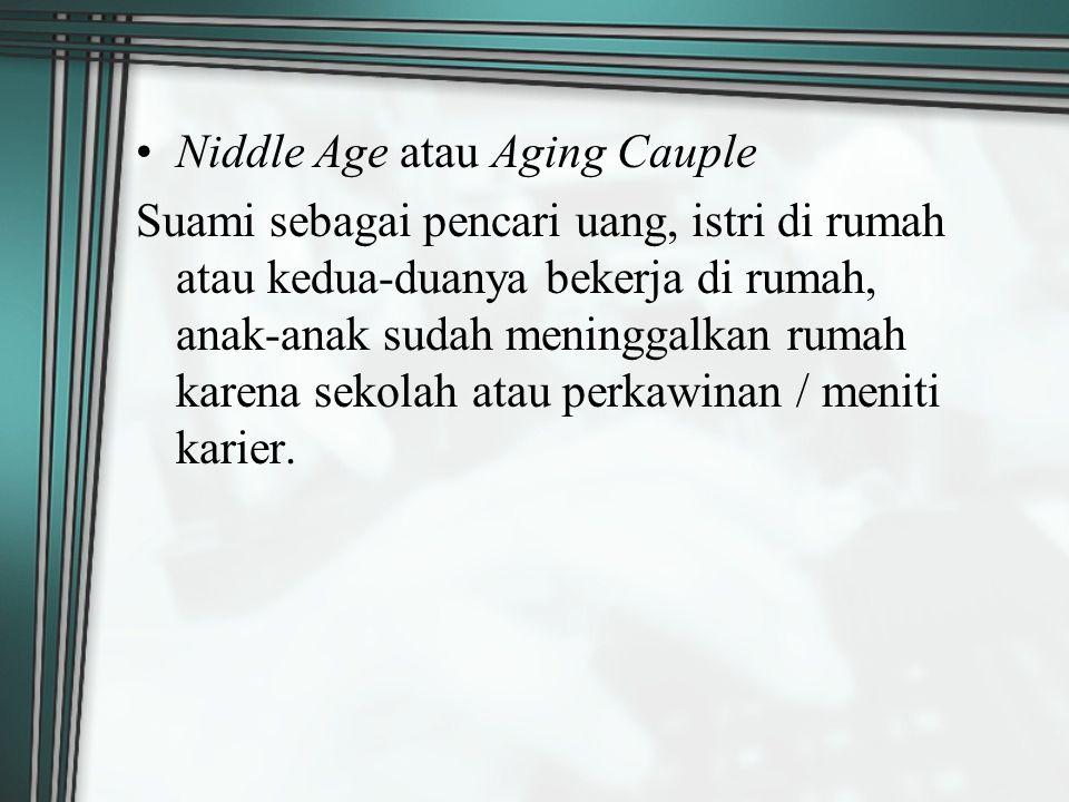 Niddle Age atau Aging Cauple Suami sebagai pencari uang, istri di rumah atau kedua-duanya bekerja di rumah, anak-anak sudah meninggalkan rumah karena