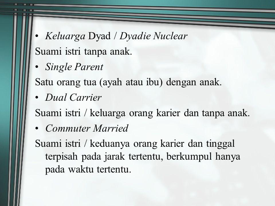 Keluarga Dyad / Dyadie Nuclear Suami istri tanpa anak. Single Parent Satu orang tua (ayah atau ibu) dengan anak. Dual Carrier Suami istri / keluarga o