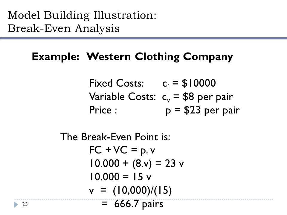 Example: Western Clothing Company Fixed Costs: c f = $10000 Variable Costs: c v = $8 per pair Price : p = $23 per pair The Break-Even Point is: FC + V