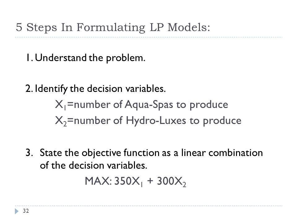 5 Steps In Formulating LP Models: 1. Understand the problem. 2. Identify the decision variables. X 1 =number of Aqua-Spas to produce X 2 =number of Hy