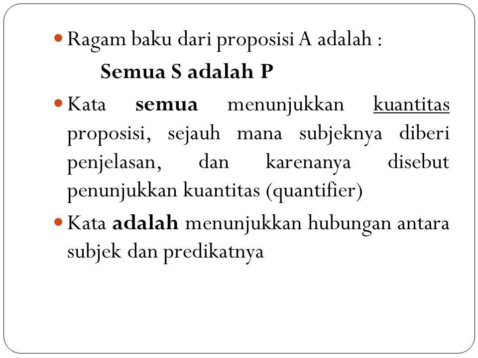 Ragam baku dari proposisi A adalah : Semua S adalah P Kata semua menunjukkan kuantitas proposisi, sejauh mana subjeknya diberi penjelasan, dan karenan