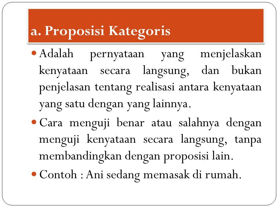 1.Affirmatif – universal ( proposisi A) 2. Affirmatif – particular ( proposisi I) 3.