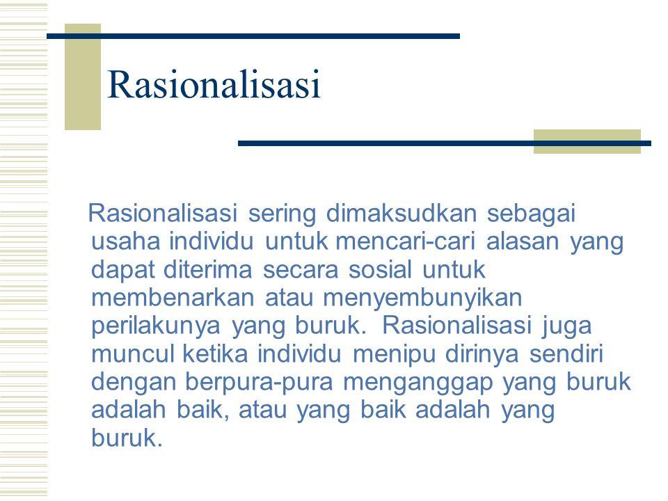 Rasionalisasi Rasionalisasi sering dimaksudkan sebagai usaha individu untuk mencari-cari alasan yang dapat diterima secara sosial untuk membenarkan at