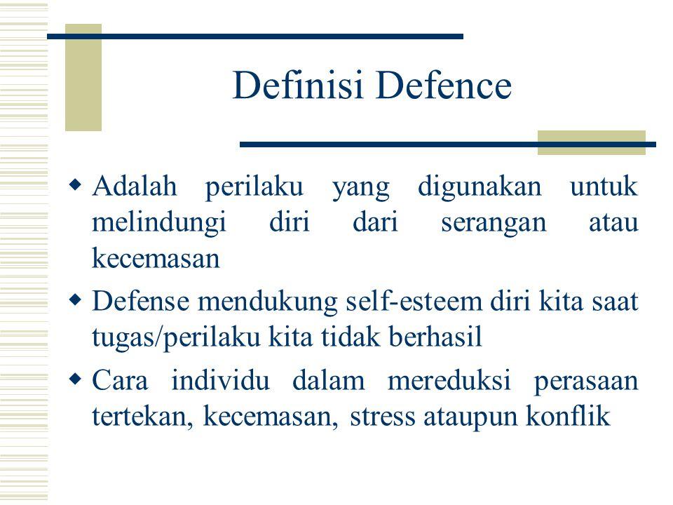 Definisi Defence  Adalah perilaku yang digunakan untuk melindungi diri dari serangan atau kecemasan  Defense mendukung self-esteem diri kita saat tu