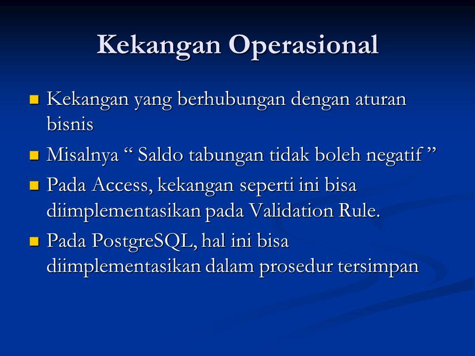 """Kekangan Operasional Kekangan yang berhubungan dengan aturan bisnis Kekangan yang berhubungan dengan aturan bisnis Misalnya """" Saldo tabungan tidak bol"""