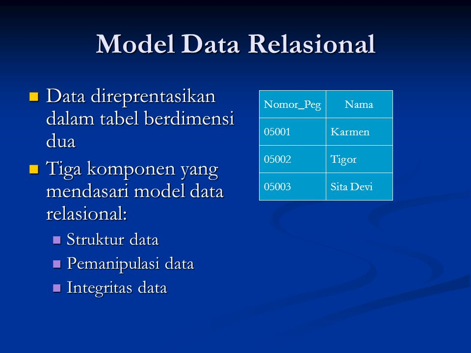 Model Data Relasional Data direprentasikan dalam tabel berdimensi dua Data direprentasikan dalam tabel berdimensi dua Tiga komponen yang mendasari mod