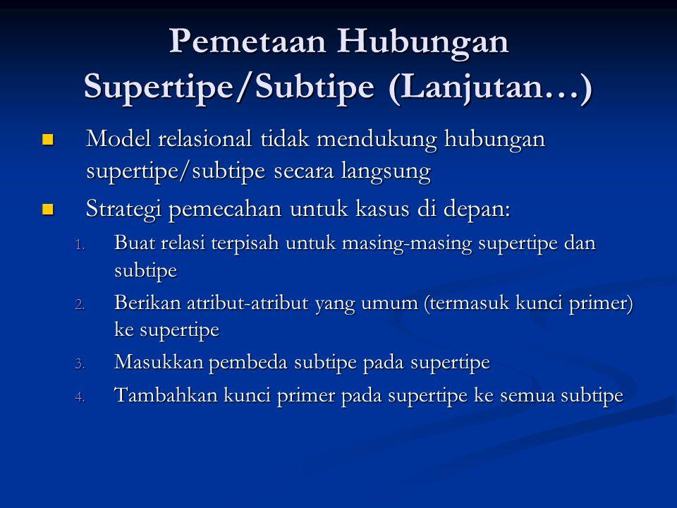 Pemetaan Hubungan Supertipe/Subtipe (Lanjutan…) Model relasional tidak mendukung hubungan supertipe/subtipe secara langsung Model relasional tidak men