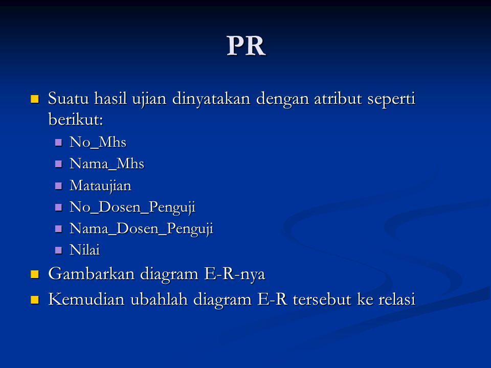 PR Suatu hasil ujian dinyatakan dengan atribut seperti berikut: Suatu hasil ujian dinyatakan dengan atribut seperti berikut: No_Mhs No_Mhs Nama_Mhs Na