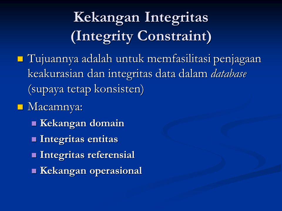 Kekangan Domain Memastikan data dalam domain yang telah ditetapkan Memastikan data dalam domain yang telah ditetapkan Domain adalah kemungkinan nilai terhadap suatu atribut Domain adalah kemungkinan nilai terhadap suatu atribut Contoh: Contoh: A,B,C,D,E untuk nilai A,B,C,D,E untuk nilai TRUE untuk pria dan FALSE untuk wanita TRUE untuk pria dan FALSE untuk wanita INTEGER untuk menyatakan nilai bulat INTEGER untuk menyatakan nilai bulat Dalam praktek, domain juga mencakup panjang data Dalam praktek, domain juga mencakup panjang data Contoh: Contoh: CHARACTER, SIZE 35 CHARACTER, SIZE 35 INTEGER, 3 DIGITS INTEGER, 3 DIGITS
