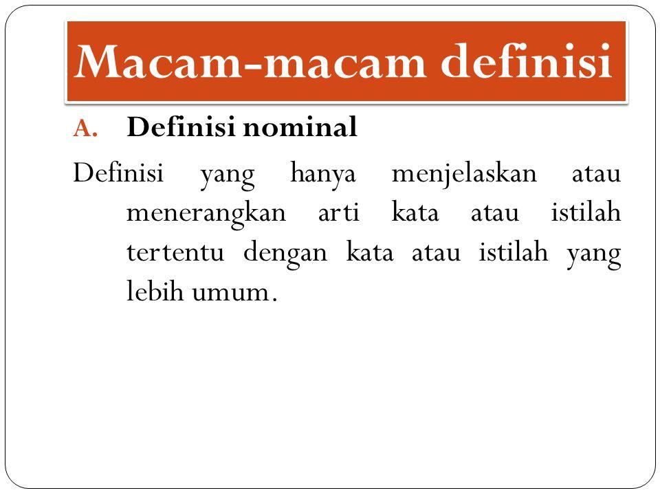 Macam-macam definisi A. Definisi nominal Definisi yang hanya menjelaskan atau menerangkan arti kata atau istilah tertentu dengan kata atau istilah yan