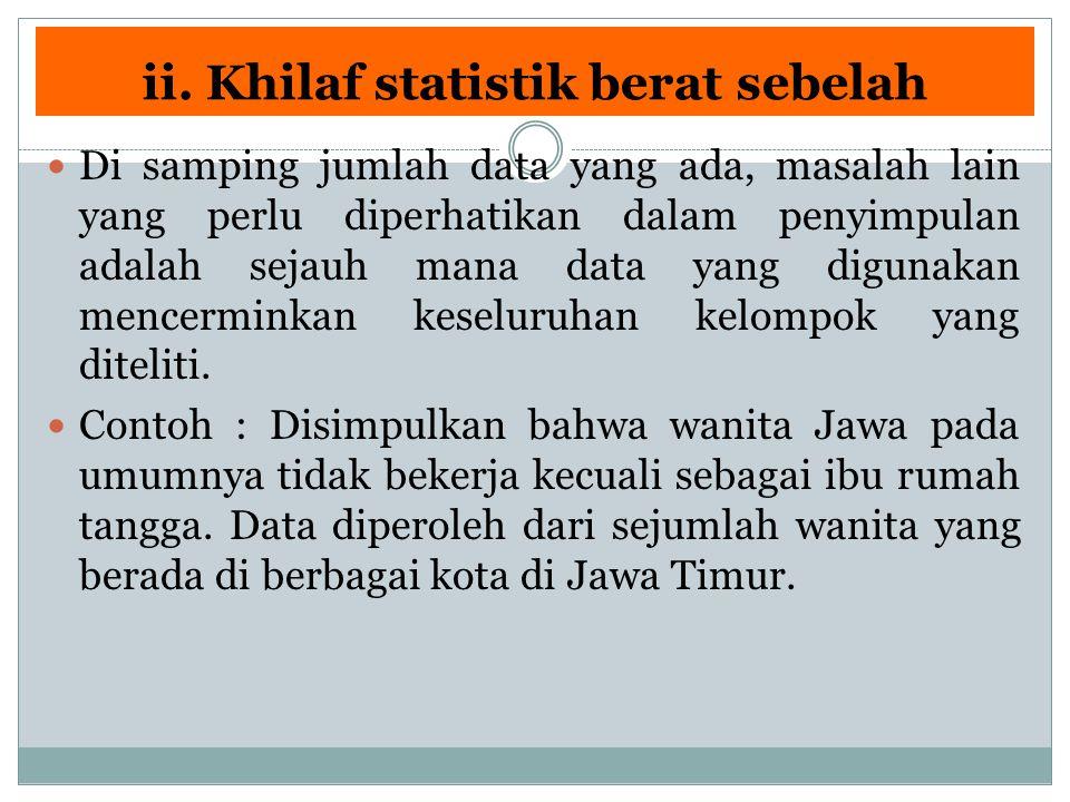 ii. Khilaf statistik berat sebelah Di samping jumlah data yang ada, masalah lain yang perlu diperhatikan dalam penyimpulan adalah sejauh mana data yan
