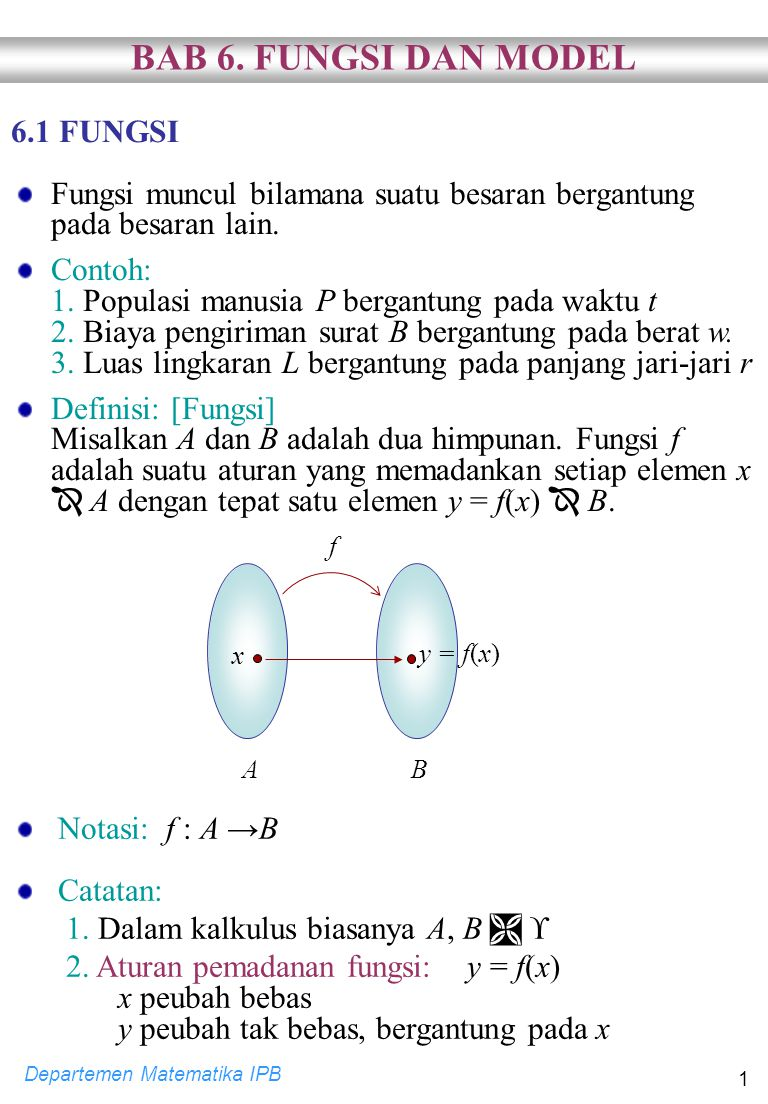 Departemen Matematika IPB 12  Contoh: Golongkan fungsi-fungsi berikut berdasarkan jenisnya.