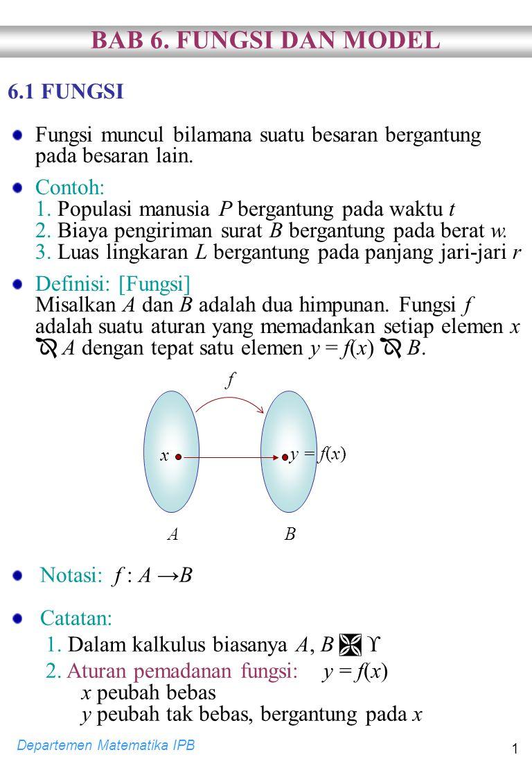 Departemen Matematika IPB 2 3.Daerah asal fungsi: D f = A = {x   fungsi f terdefinisi} 4.
