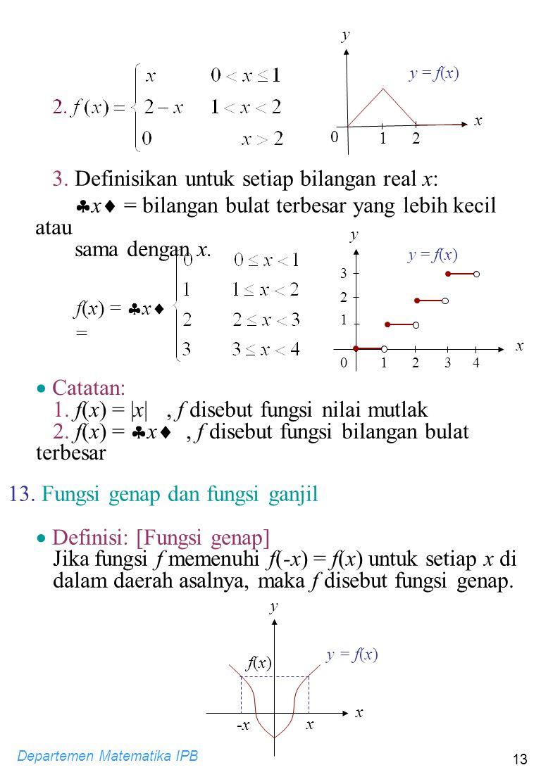 Departemen Matematika IPB 13 y 0 1 y = f(x) x 2 3. Definisikan untuk setiap bilangan real x:  x  = bilangan bulat terbesar yang lebih kecil atau sam
