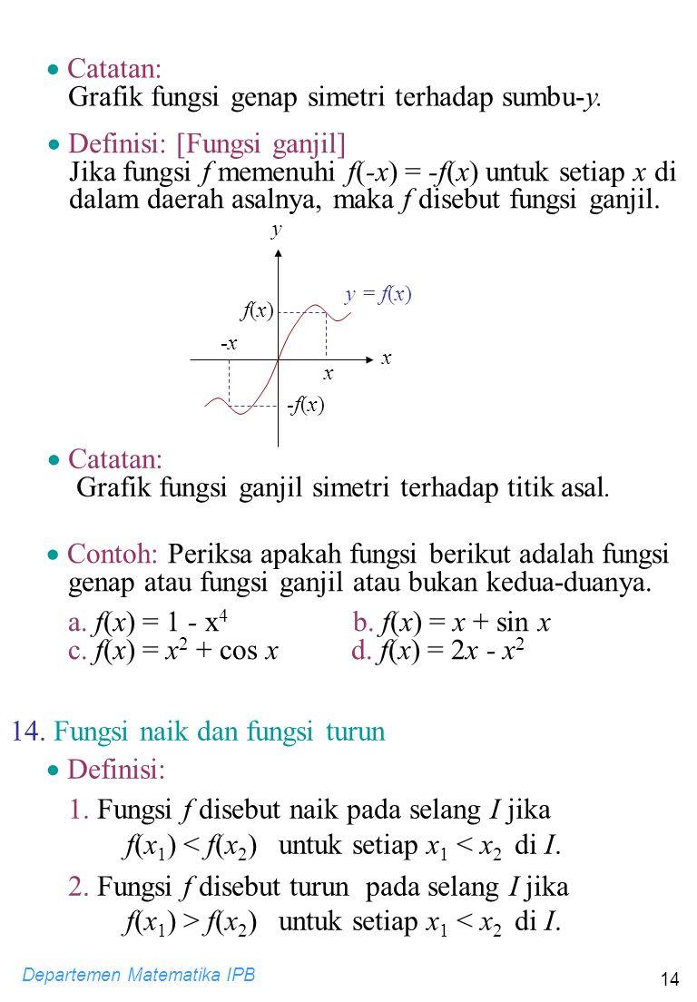 Departemen Matematika IPB 14  Definisi: [Fungsi ganjil] Jika fungsi f memenuhi f(-x) = -f(x) untuk setiap x di dalam daerah asalnya, maka f disebut f
