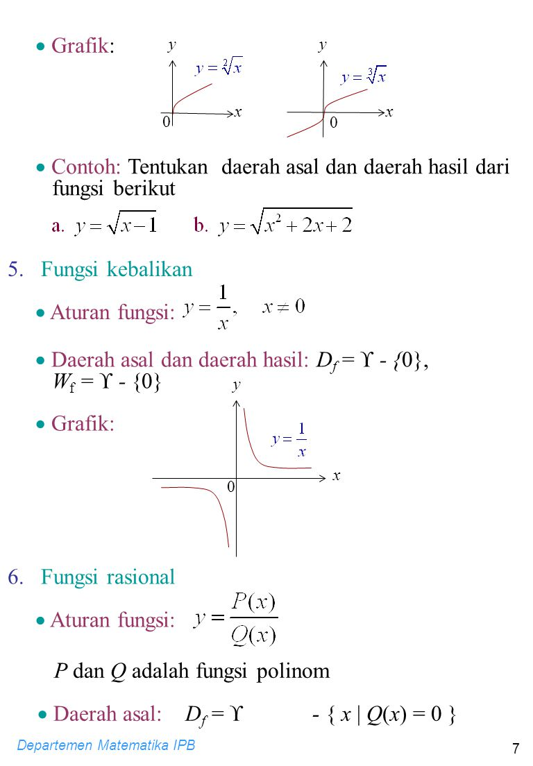 Departemen Matematika IPB 7 5. Fungsi kebalikan  Aturan fungsi:  Daerah asal dan daerah hasil: D f =  - {0}, W f =  - {0}  Grafik: y 0 x 6. Fungs