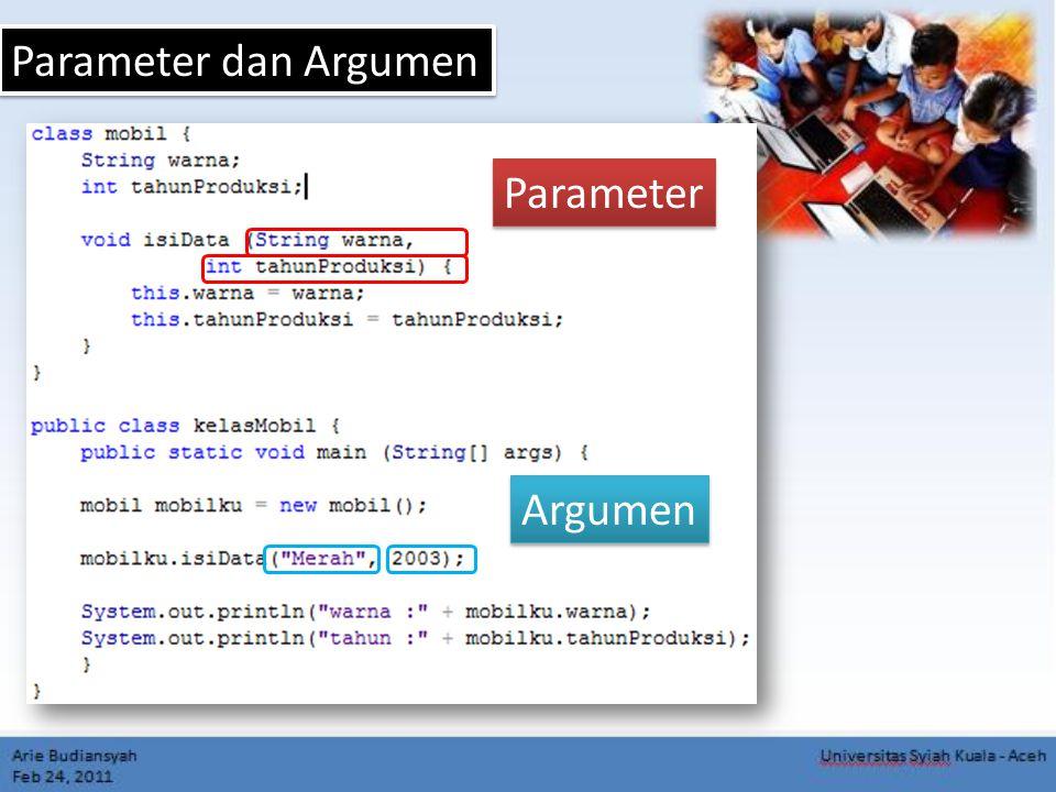 Parameter dan Argumen Parameter Argumen