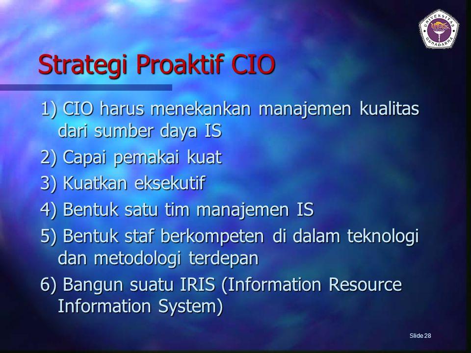 Strategi Proaktif CIO 1) CIO harus menekankan manajemen kualitas dari sumber daya IS 2) Capai pemakai kuat 3) Kuatkan eksekutif 4) Bentuk satu tim man