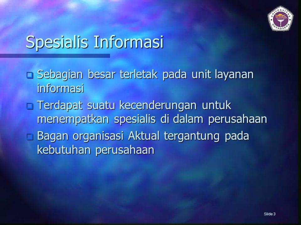 Spesialis Informasi  Sebagian besar terletak pada unit layanan informasi  Terdapat suatu kecenderungan untuk menempatkan spesialis di dalam perusaha