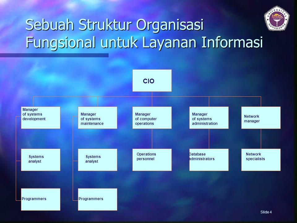 Sumber Daya Informasi  Sebagian besar terletak pada layanan informasi  Sebagian besar yang terletak secara terpusat adalah tanggung jawab CIO  Mereka yang terletak di area fungsional adalah tanggung jawab manajer area Slide 5