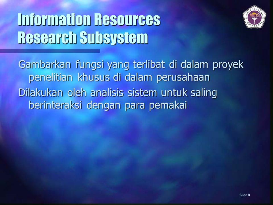 Information Resources Intelligence Subsystem Gambarkan fungsi yang terlibat dalam mengumpulkan informasi dari unsur-unsur dalam lingkungan perusahaan  Pemerintah  Pemasok  Serikat buruh  Komunitas Global  Pelanggan  Kompetitor Slide 9