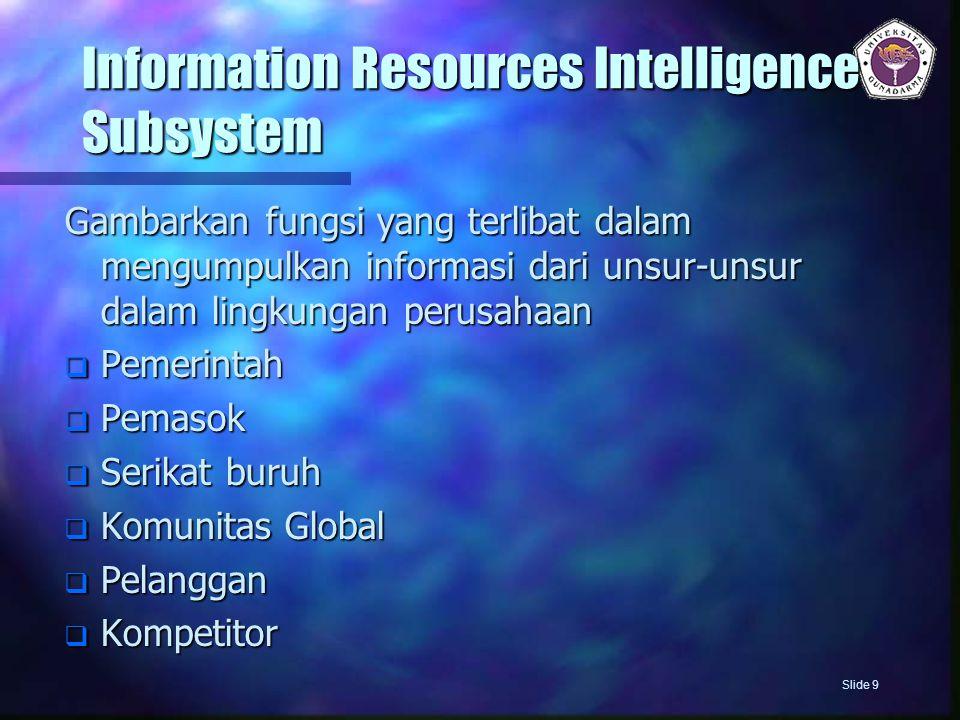 Information Resources Intelligence Subsystem Gambarkan fungsi yang terlibat dalam mengumpulkan informasi dari unsur-unsur dalam lingkungan perusahaan