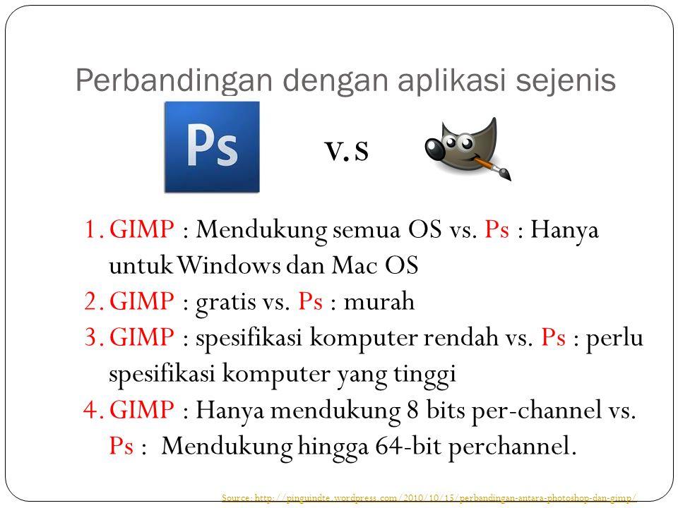 Perbandingan dengan aplikasi sejenis 1.GIMP : Mendukung semua OS vs.
