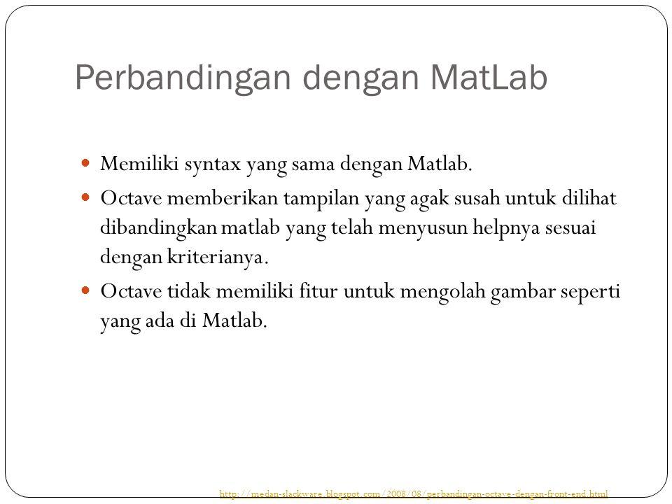 Perbandingan dengan MatLab Memiliki syntax yang sama dengan Matlab.
