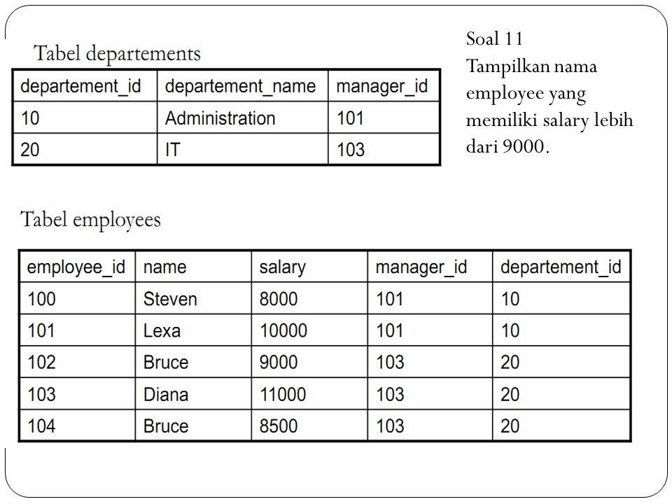 Soal 11 Tampilkan nama employee yang memiliki salary lebih dari 9000.