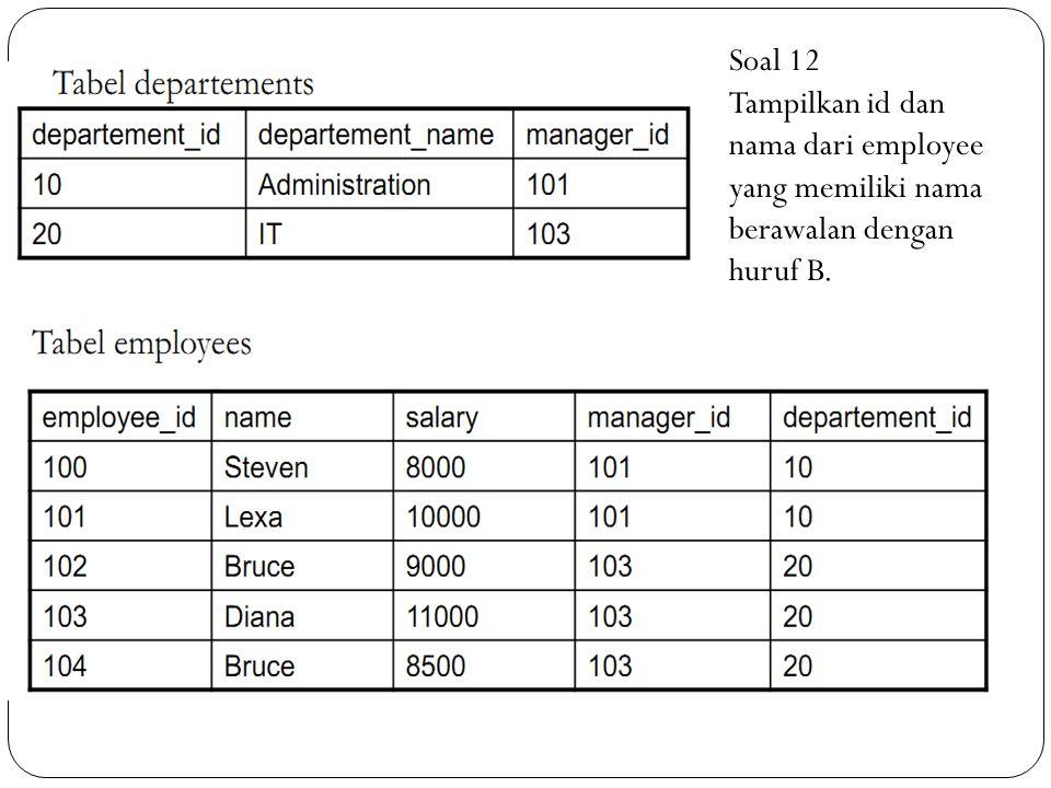 Soal 12 Tampilkan id dan nama dari employee yang memiliki nama berawalan dengan huruf B.