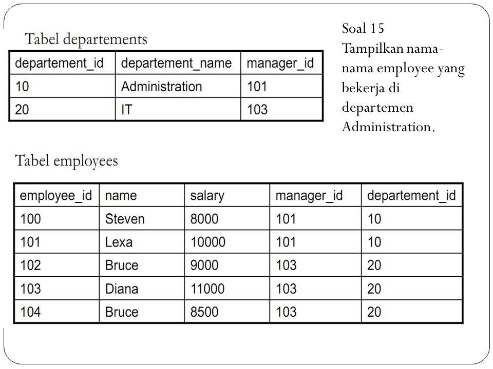 Soal 15 Tampilkan nama- nama employee yang bekerja di departemen Administration.