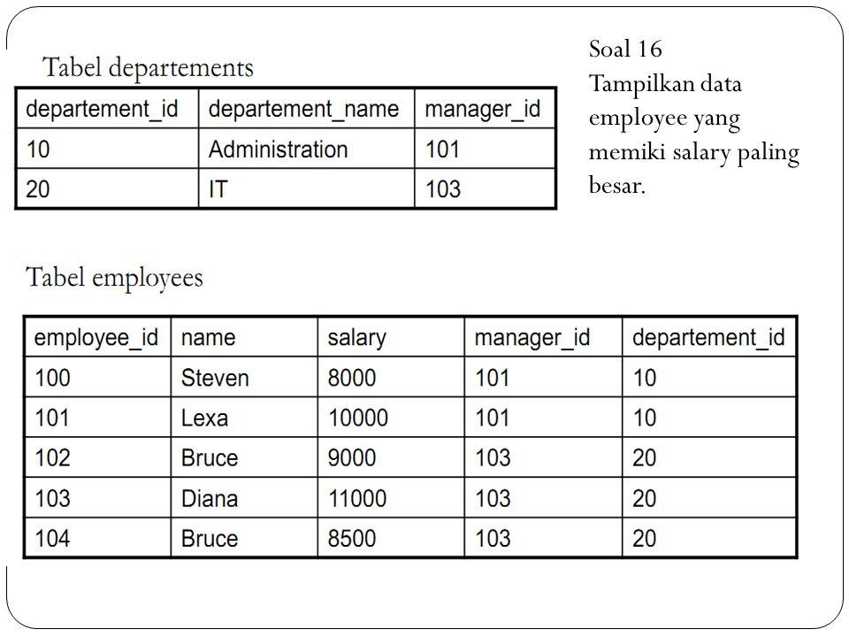 Soal 16 Tampilkan data employee yang memiki salary paling besar.