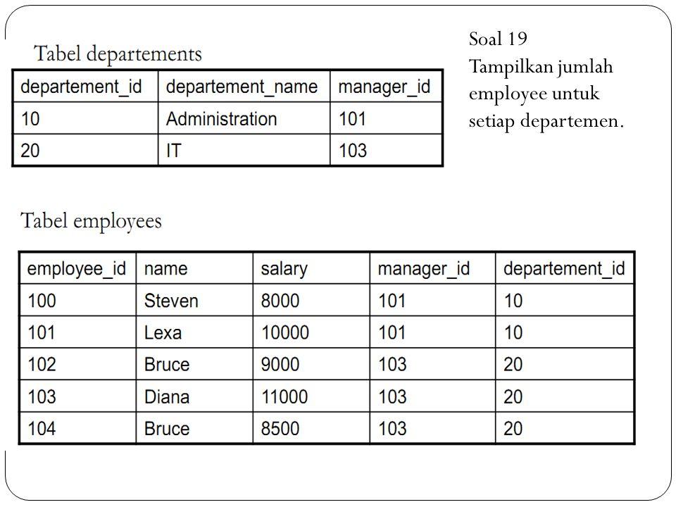 Soal 19 Tampilkan jumlah employee untuk setiap departemen.