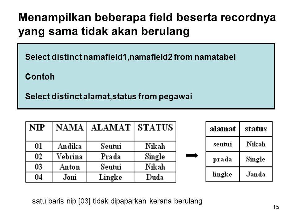 15 Select distinct namafield1,namafield2 from namatabel Contoh Select distinct alamat,status from pegawai Menampilkan beberapa field beserta recordnya
