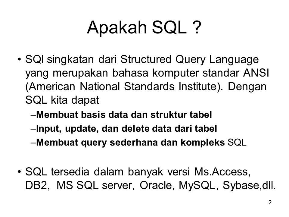2 Apakah SQL ? SQl singkatan dari Structured Query Language yang merupakan bahasa komputer standar ANSI (American National Standards Institute). Denga