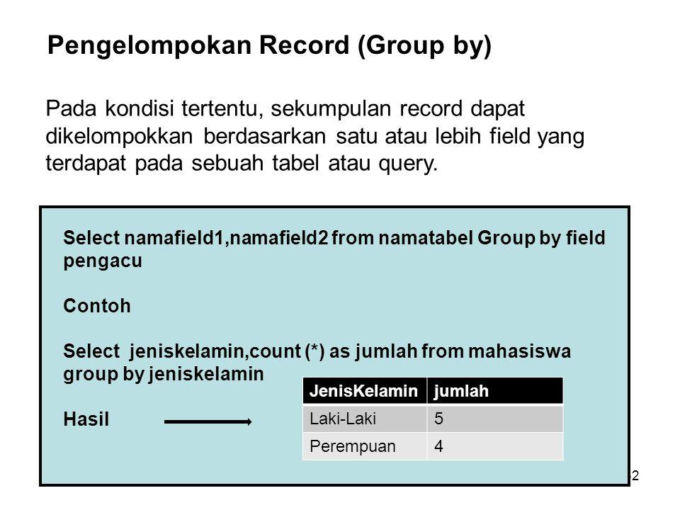 32 Select namafield1,namafield2 from namatabel Group by field pengacu Contoh Select jeniskelamin,count (*) as jumlah from mahasiswa group by jeniskela
