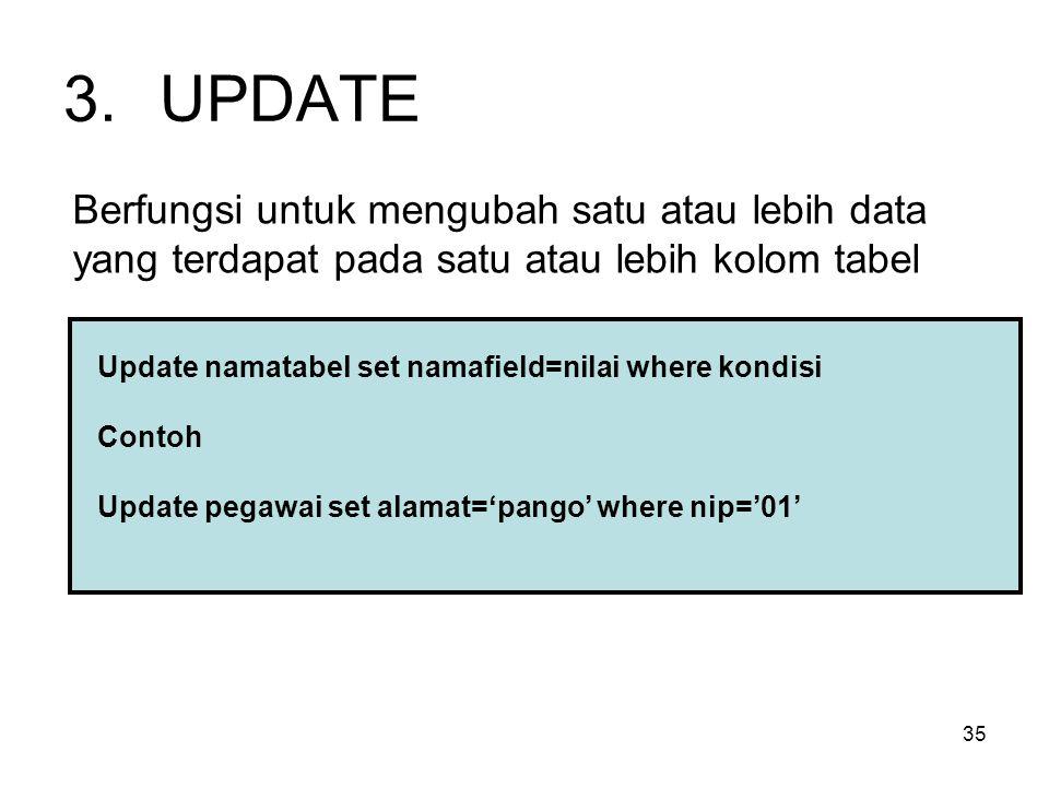 35 3.UPDATE Berfungsi untuk mengubah satu atau lebih data yang terdapat pada satu atau lebih kolom tabel Update namatabel set namafield=nilai where ko