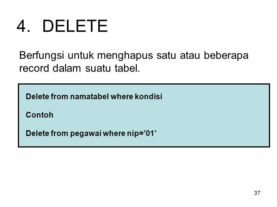 37 4.DELETE Berfungsi untuk menghapus satu atau beberapa record dalam suatu tabel. Delete from namatabel where kondisi Contoh Delete from pegawai wher