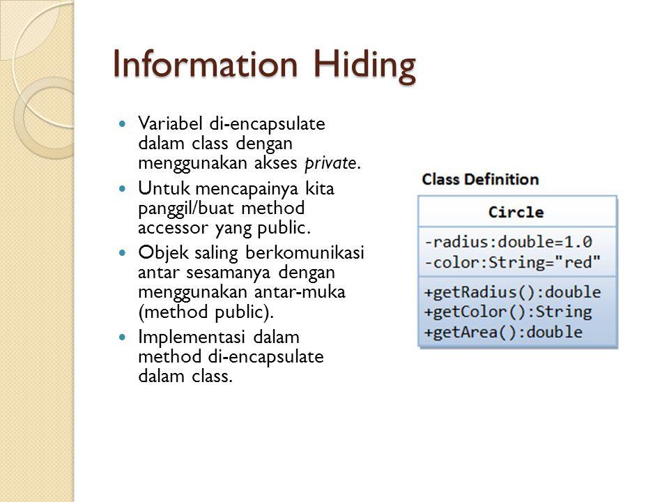 Information Hiding Variabel di-encapsulate dalam class dengan menggunakan akses private.