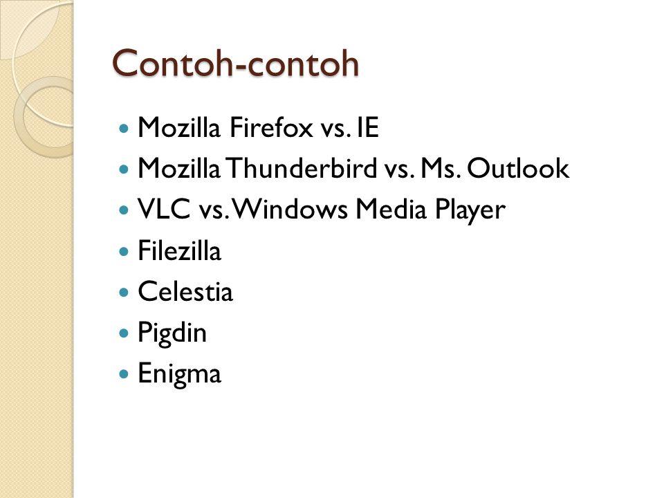 Contoh-contoh Mozilla Firefox vs. IE Mozilla Thunderbird vs.