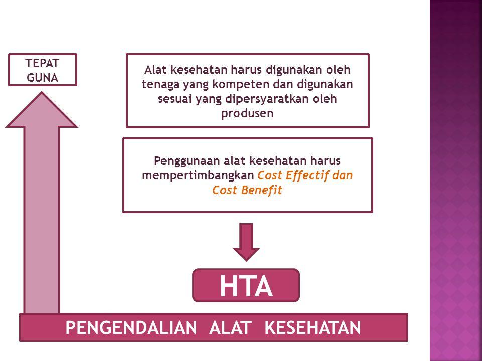 PENGENDALIAN ALAT KESEHATAN TEPAT GUNA Alat kesehatan harus digunakan oleh tenaga yang kompeten dan digunakan sesuai yang dipersyaratkan oleh produsen Penggunaan alat kesehatan harus mempertimbangkan Cost Effectif dan Cost Benefit HTA