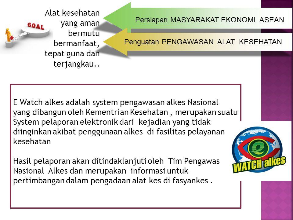 Persiapan MASYARAKAT EKONOMI ASEAN Penguatan PENGAWASAN ALAT KESEHATAN JKN Alat kesehatan yang aman bermutu bermanfaat, tepat guna dan terjangkau.. E