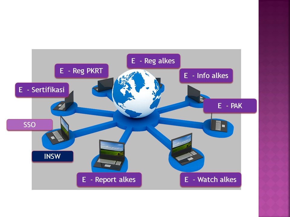 SSO INSW E - Reg alkes E - Reg PKRT E - Info alkes E - PAK E - Sertifikasi E - Watch alkes E - Report alkes