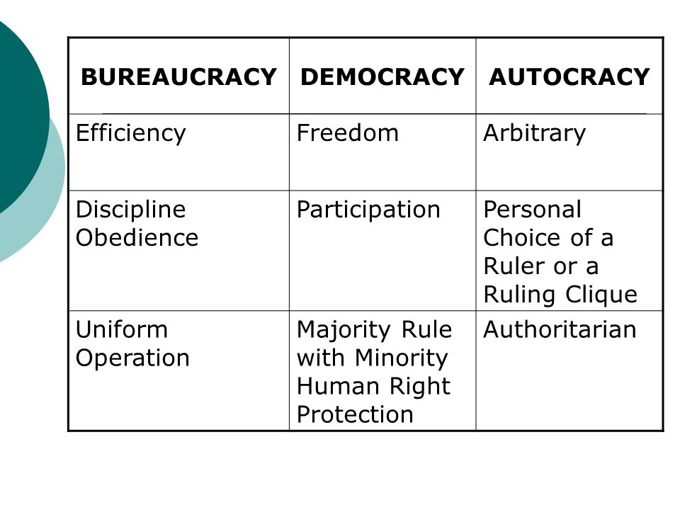 BUREAUCRACYDEMOCRACYAUTOCRACY EfficiencyFreedomArbitrary Discipline Obedience ParticipationPersonal Choice of a Ruler or a Ruling Clique Uniform Opera