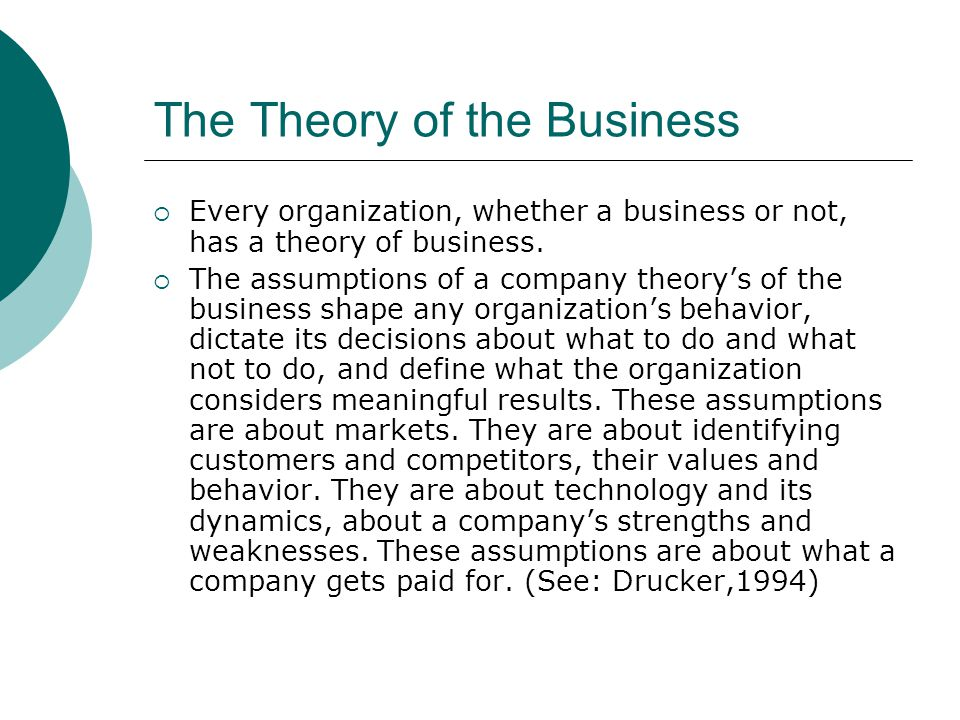 The Theory of the Business  Every organization, whether a business or not, has a theory of business.