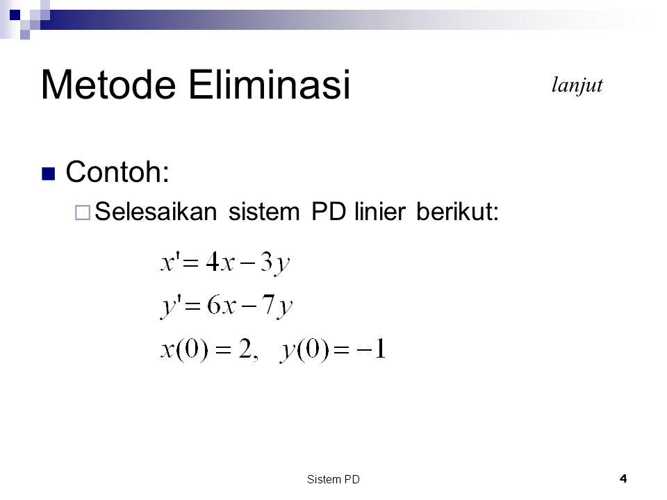 Sistem PD 25 Berdasarkan problem sebelumnya:  m 1 = 2, m 2 = 1, k 1 = 100, k 2 = 50 dan f(t) = 0 Persamaan matriks