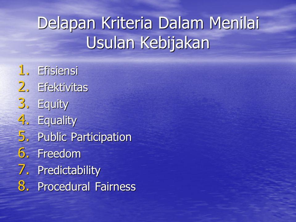 Delapan Kriteria Dalam Menilai Usulan Kebijakan 1.