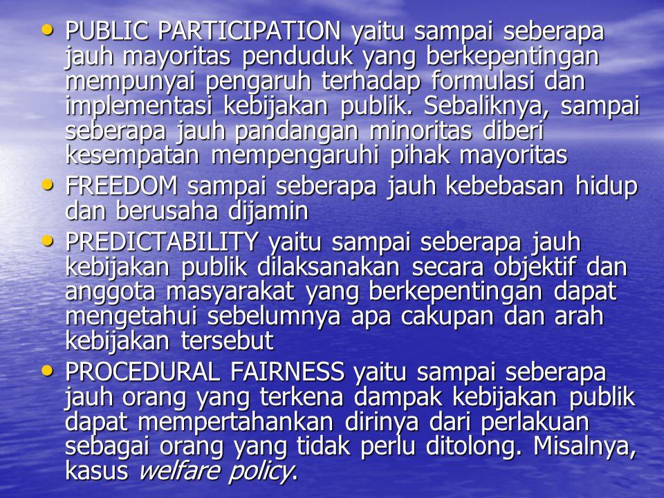 PUBLIC PARTICIPATION yaitu sampai seberapa jauh mayoritas penduduk yang berkepentingan mempunyai pengaruh terhadap formulasi dan implementasi kebijakan publik.