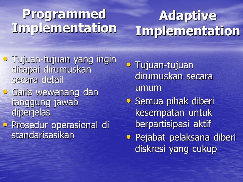 Programmed Implementation Tujuan-tujuan yang ingin dicapai dirumuskan secara detail Tujuan-tujuan yang ingin dicapai dirumuskan secara detail Garis wewenang dan tanggung jawab diperjelas Garis wewenang dan tanggung jawab diperjelas Prosedur operasional di standarisasikan Prosedur operasional di standarisasikan Adaptive Implementation Tujuan-tujuan dirumuskan secara umum Tujuan-tujuan dirumuskan secara umum Semua pihak diberi kesempatan untuk berpartisipasi aktif Semua pihak diberi kesempatan untuk berpartisipasi aktif Pejabat pelaksana diberi diskresi yang cukup Pejabat pelaksana diberi diskresi yang cukup